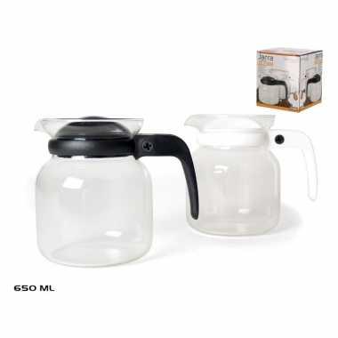 Theepot/koffiepot met zwart deksel en handvat 0,65 liter