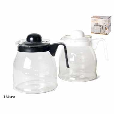 Theepot/koffiepot met zwart deksel en handvat 1 liter