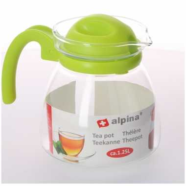 Theepot met lime groene deksel en handvat 1,25 liter