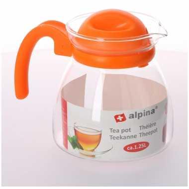 Theepot met oranje deksel en handvat 1,25 liter