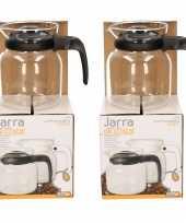 2x stuks theepot koffiepot met zwarte deksel en handvat 0 65 liter