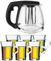 Glazen theepot met filter infuser van 1 2 liter met 6x stuks theeglazen van 230 ml