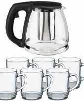 Glazen theepot met filter infuser van 1 2 liter met 6x stuks theeglazen van 260 ml