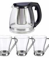 Glazen theepot met filter infuser van 1200 ml met 3x stuks theeglazen van 240 ml