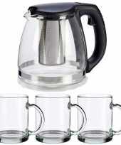 Glazen theepot met filter infuser van 1200 ml met 6x stuks theeglazen van 285 ml