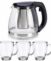 Glazen theepot met filter infuser van 1200 ml met 6x stuks theeglazen van 320 ml