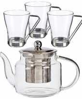 Glazen theepot met filter infuser van 500 ml met 3x stuks theeglazen van 240 ml