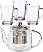 Glazen theepot met filter infuser van 500 ml met 6x stuks theeglazen van 250 ml