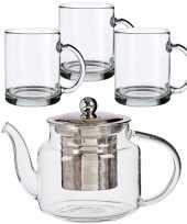 Glazen theepot met filter infuser van 500 ml met 6x stuks theeglazen van 285 ml