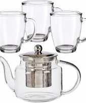 Glazen theepot met filter infuser van 500 ml met 6x stuks theeglazen van 320 ml
