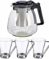 Glazen theepot met filter infuser van 900 ml met 3x stuks theeglazen van 240 ml