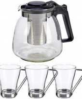Glazen theepot met filter infuser van 900 ml met 6x stuks theeglazen van 240 ml