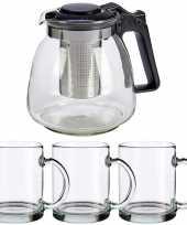 Glazen theepot met filter infuser van 900 ml met 6x stuks theeglazen van 285 ml