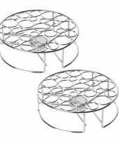 Set van 2x stuks rechaud warmhouder warmhoudplaatje chroom voor theepotten pannen 20 cm